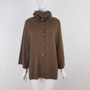 THEORY Brown Wool Button Front Cardigan Sweater S